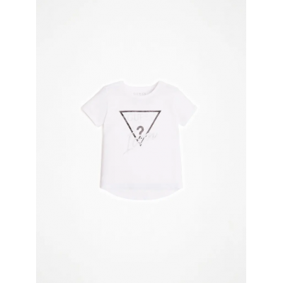 GLITTER ICON LOGO LONG T-SHIRT Guess