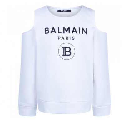 Off-Shoulder Sweater White Balmain