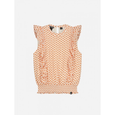 NIK&NIK TOP WITH ALL OVER N PRINT AND RUFFLES ANNE LOGO TOP